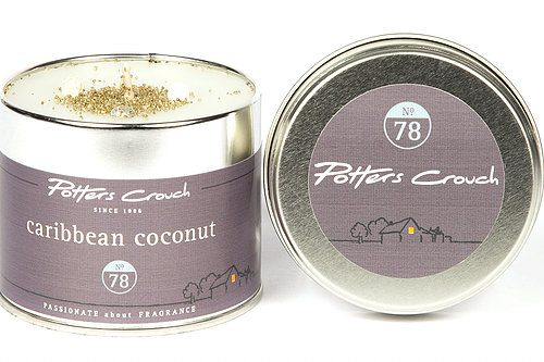 Potters Crouch Caribbean Coconut Scented Candle Tin