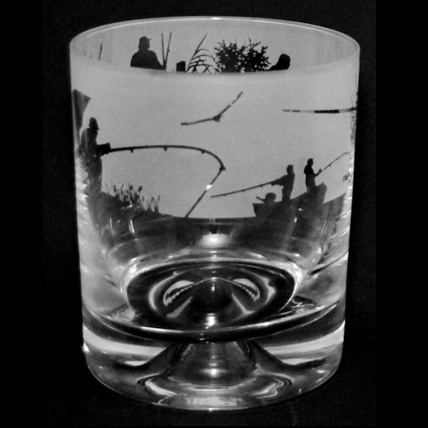 Animo Glass Milford Collection Fishing Scene Crystal Glass Whisky Tumbler