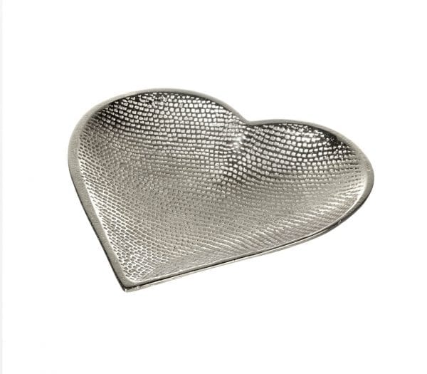 750898 Parlane Phila Heart Shape Hammered Aluminium Trinket Dish Plate Medium