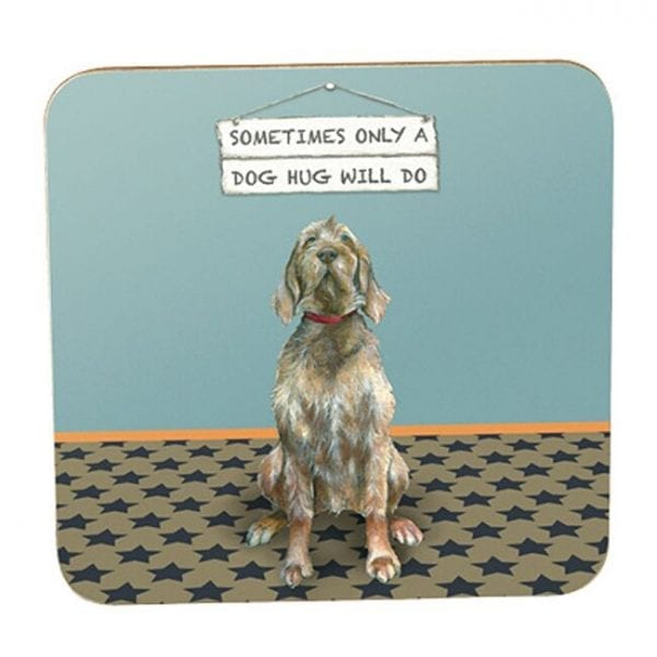Little Dog Laughed GSCTR03 Dog Hug RSPCA Coaster