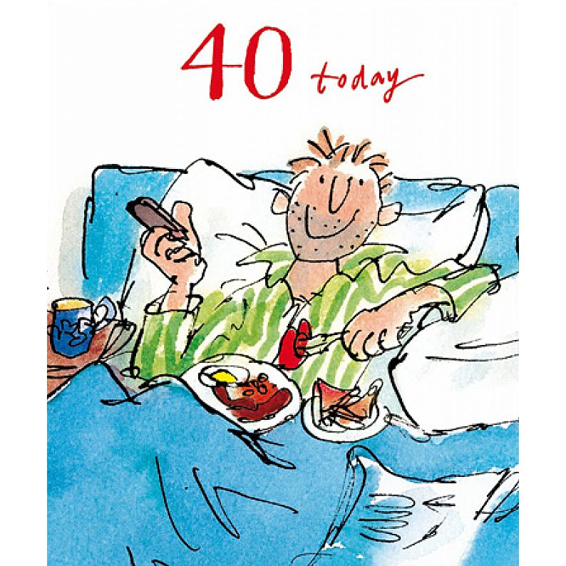 Quentin Blake 40 Today Male Birthday Greeting Card