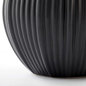 ridged base matt black flower pot planter lene bjerre
