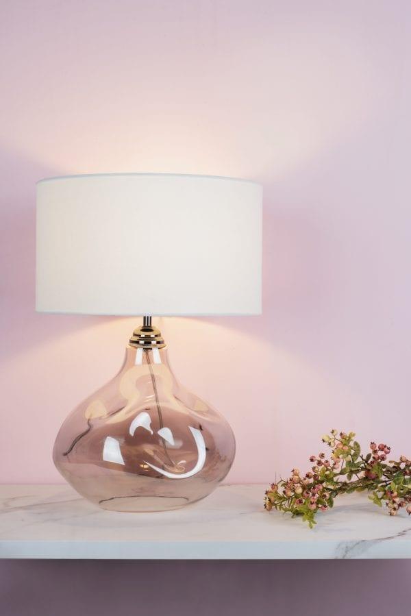 esarosa smoke glass table lamp dar lighting cream shade room set