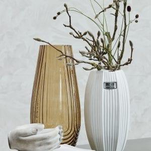 lene bjerre nerie matt white elegant ribbed ceramic table flower foiliage vase