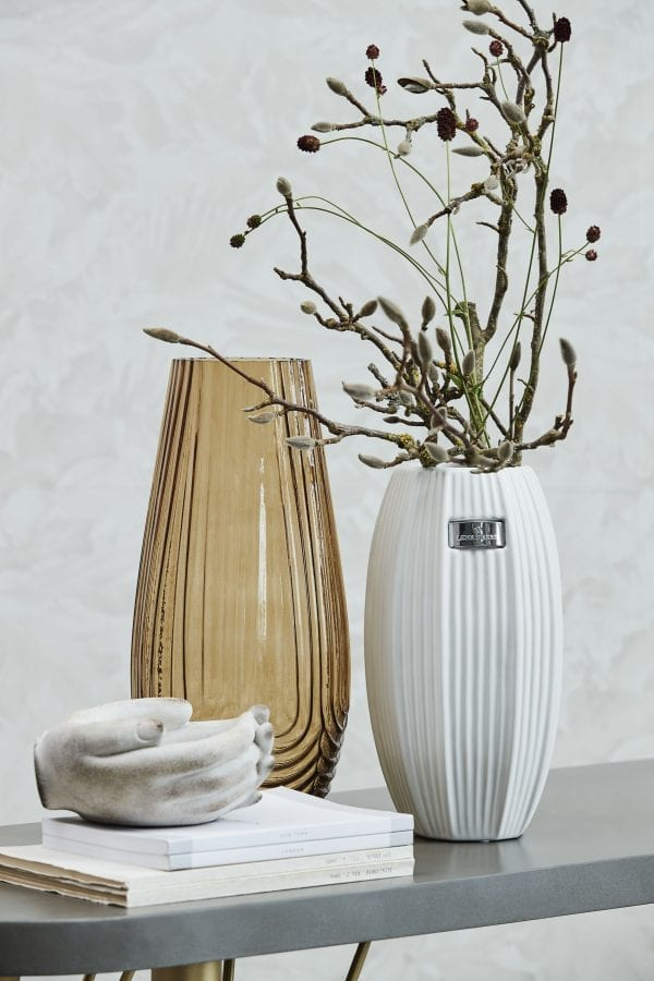 lene bjerre nerie matt white elegant ribbed ceramic table flower foiliage vase
