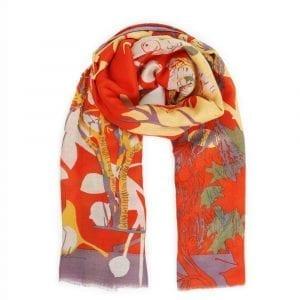 powder-design-stag-print-scarf-tangerine