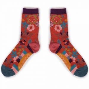 scandi-floral-ankle-sock-tangerine