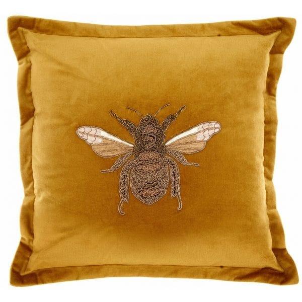 voyage-maison-layla-mustard-beaded-bee-velvet-cushion