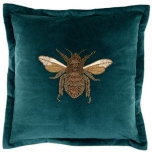 voyage-maison-layla-teal-beaded-bee-velvet-cushion